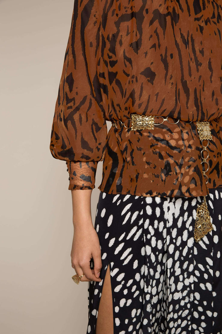 Victoria - Brown Tiger Stripe High Neck Blouse