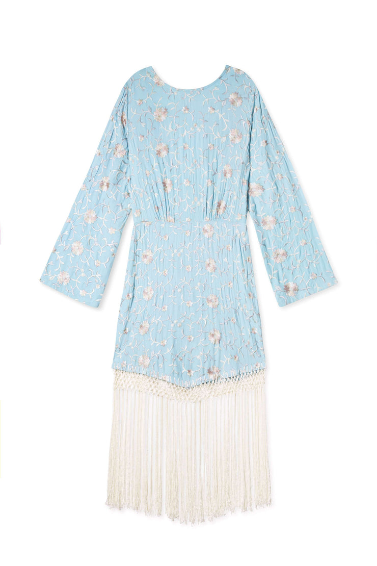 Yolanda - Floral Embroidery Long Sleeve Tassel Mini Dress
