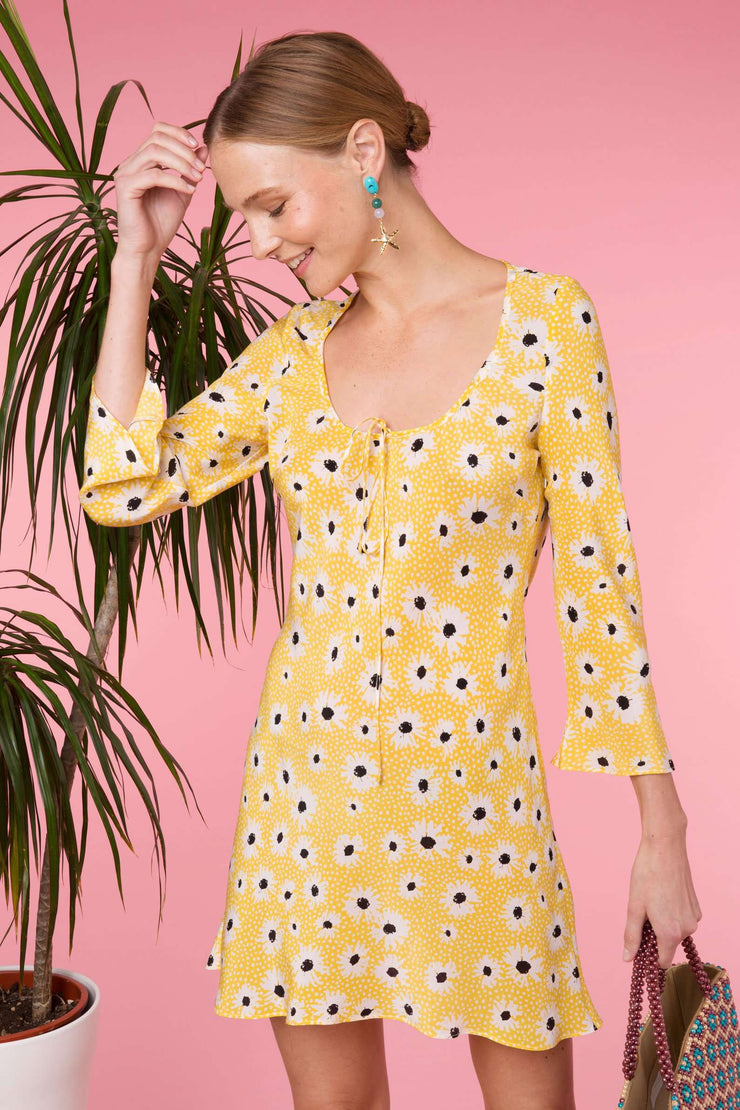 Celeste - Yellow Leopard Daisy Long Sleeve Mini Dress
