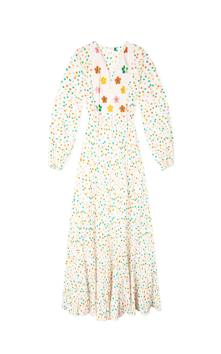 Eliza – Pollen Spot Embroidery Long Sleeve Tiered Midaxi Dress
