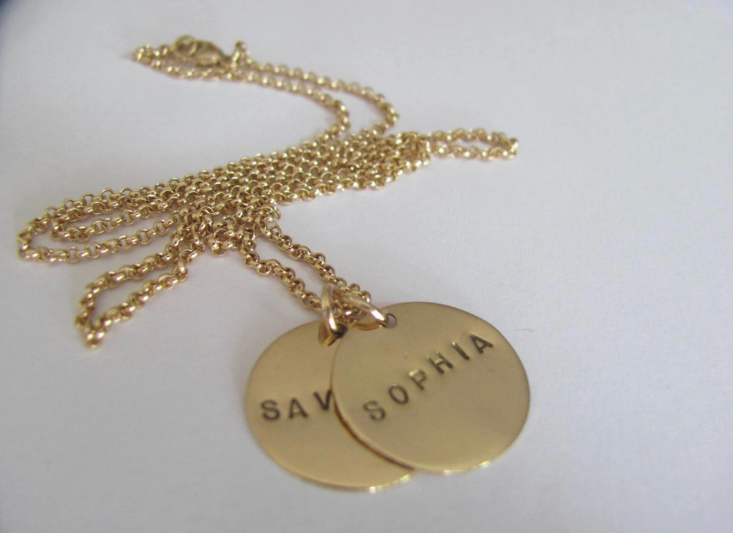 14k Gold Personalized Disc Necklace