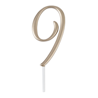 Gold Monogram Number 9 Cake Topper