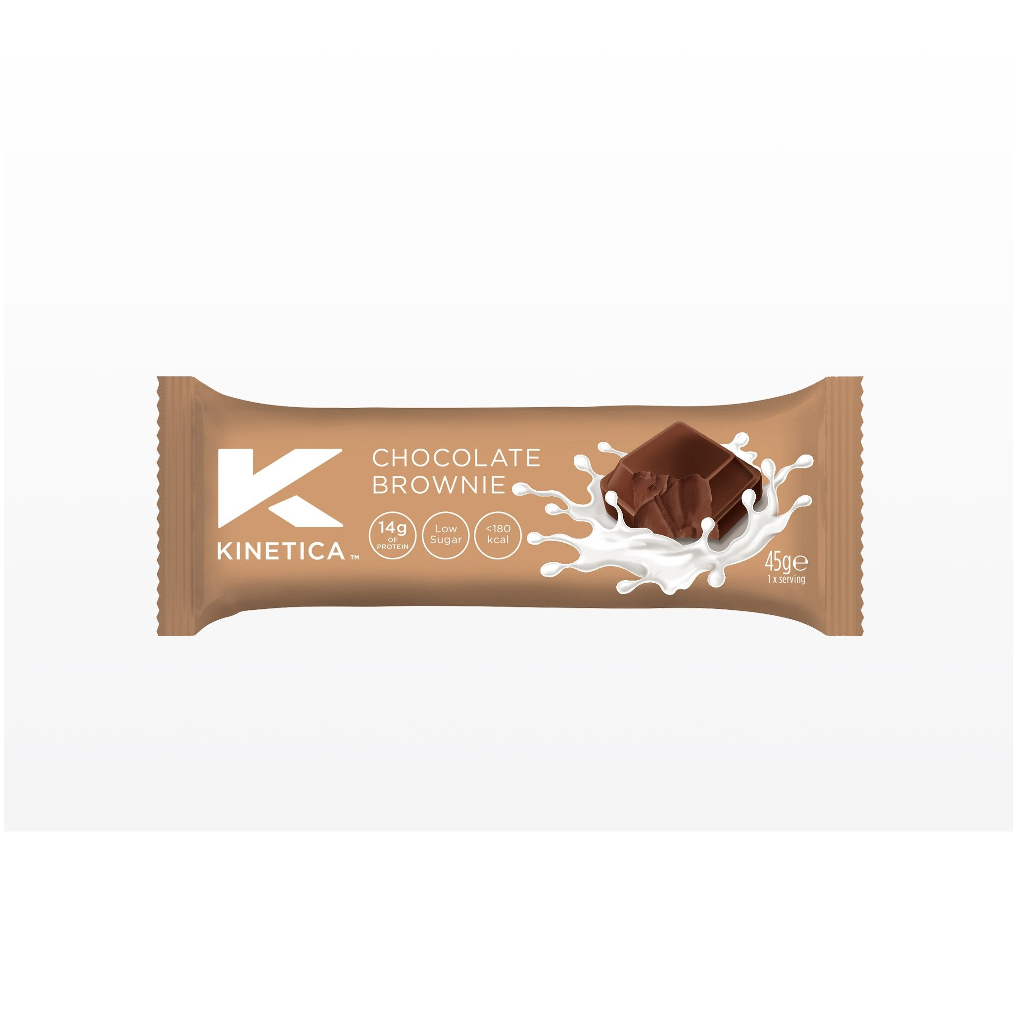 Kinetica protein bar, chocolate brownie protein bar, high protein, 14g protein.