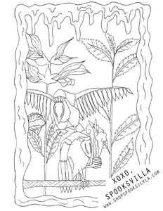 FREE COLORING PAGE 3: BOAT BILLED HERON X SALVIA
