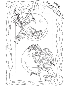 FREE COLORING PAGE 1: EAGLES ON ACID
