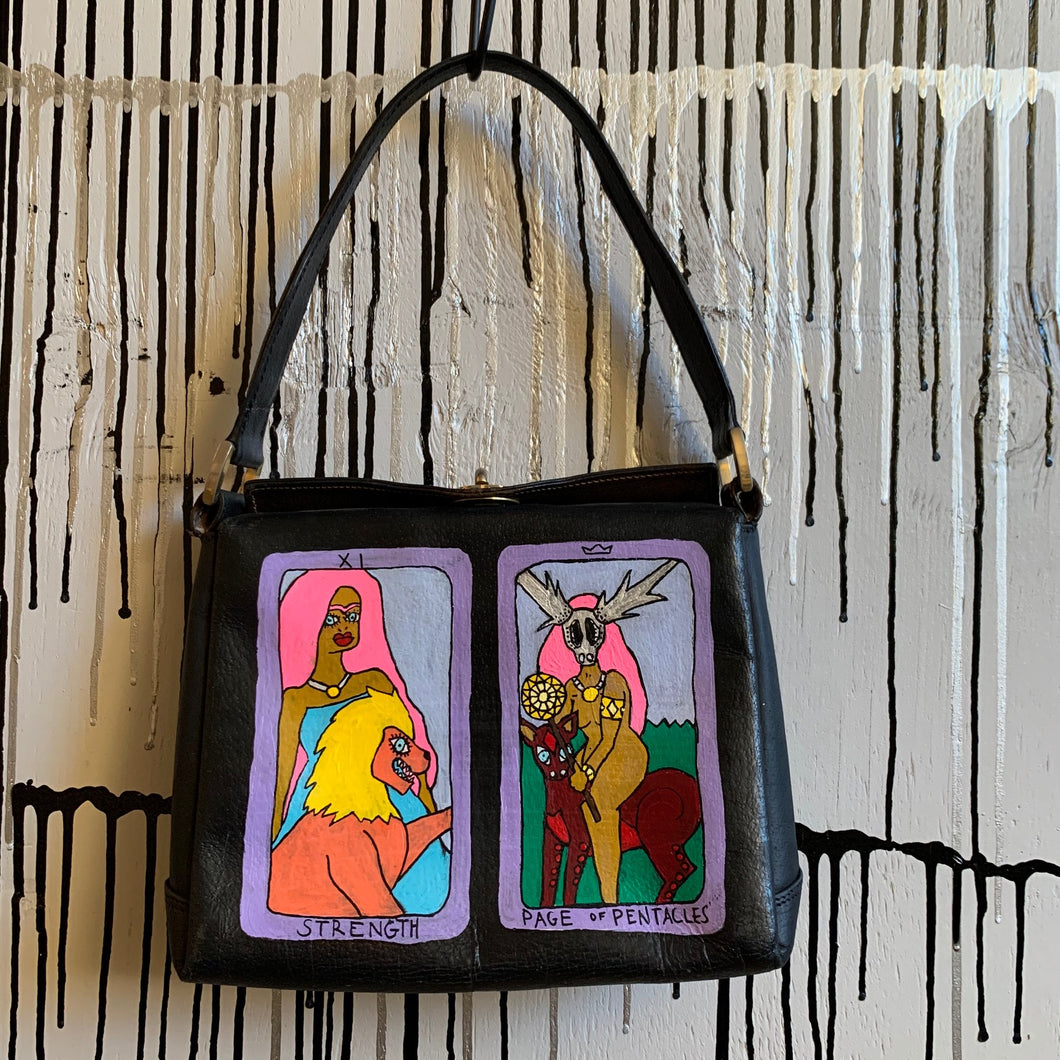 Hand Painted Tarot Card 1990s Vintage Gucci Bag