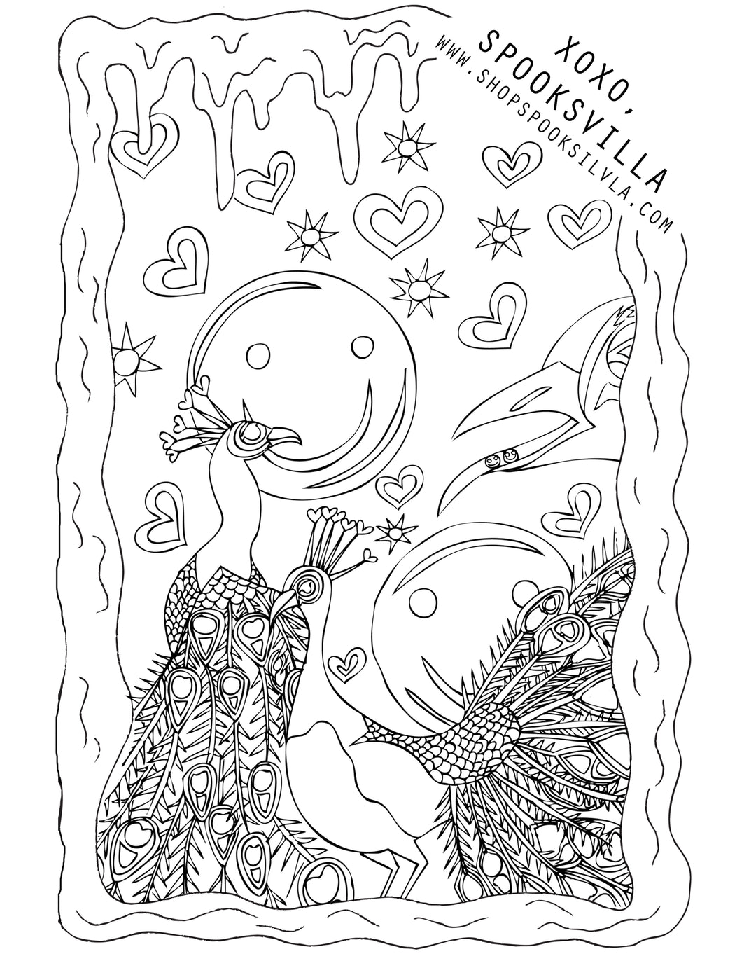 FREE COLORING PAGE 2: PEACOCKS ON ECSTASY