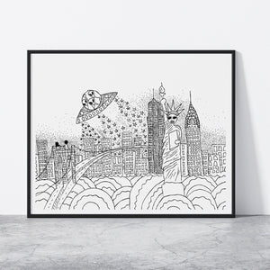 NYC Alien Attack Print