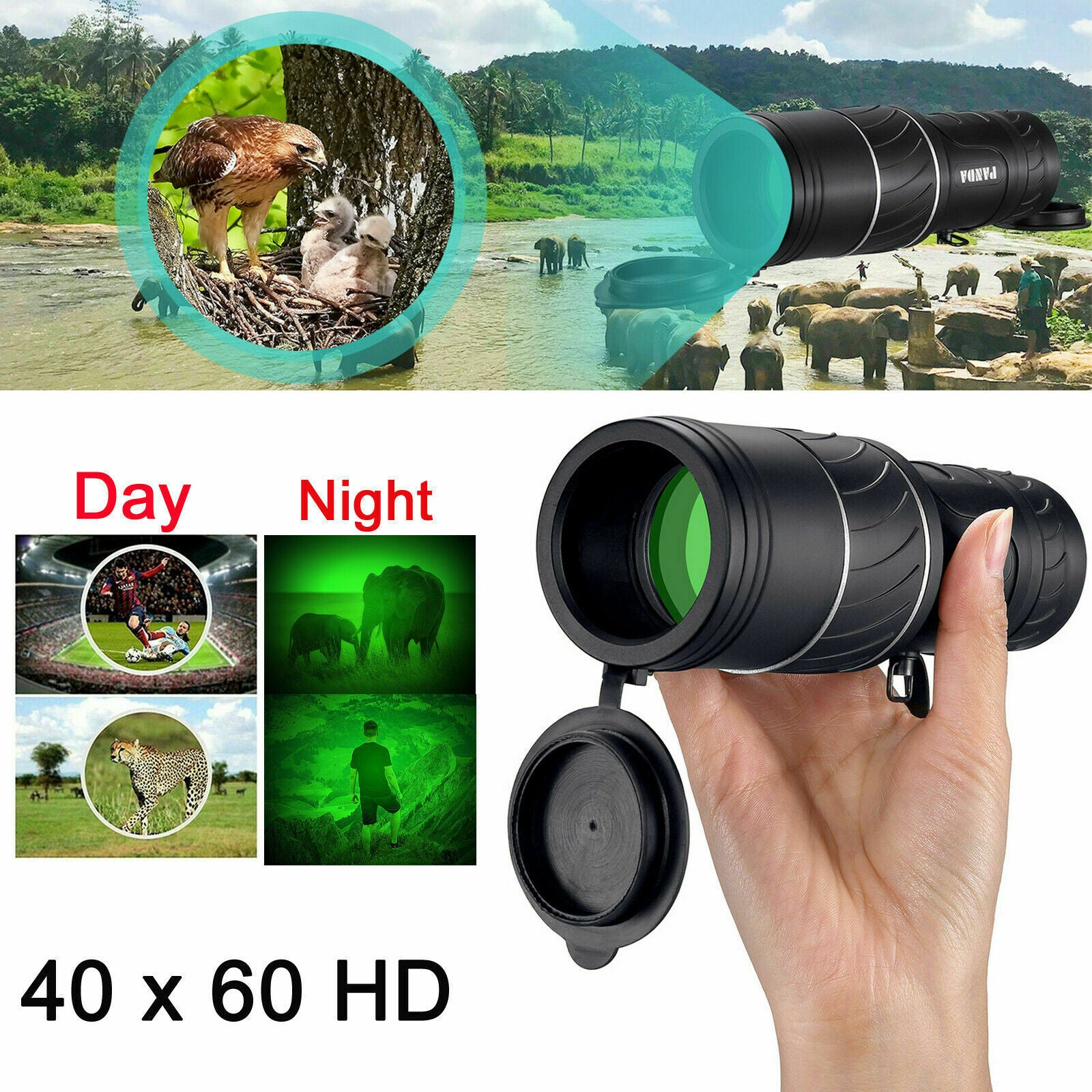 Reliable Tech's-Day Night Vision 40X60 HD Hunting Binoculars Optical Telescope Handheld Scope US