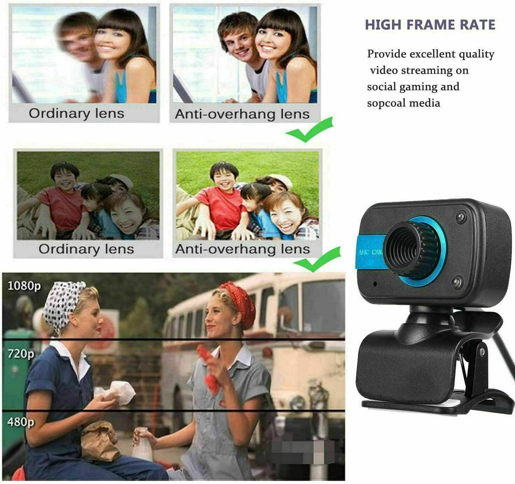 Webcam HD Computer Web Camera For PC Laptop Video Cam Microphone
