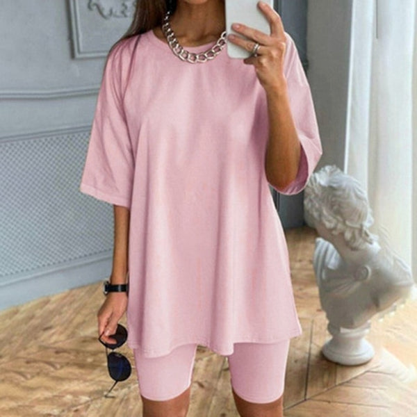 Women's Summer Suit With Bicycles Two Piece Sets Shorts And Tops With Belt Casual Home Loose Women's Bicycles 2020 Shorts Suit