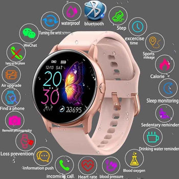 Smart Watch for Women Men Bluetooth Sport Wristwatch-Heart Rate Monitor Fitness Tracker Pedometer-Android