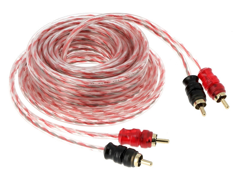 5m 2-channel RCA cable transparent red short connector