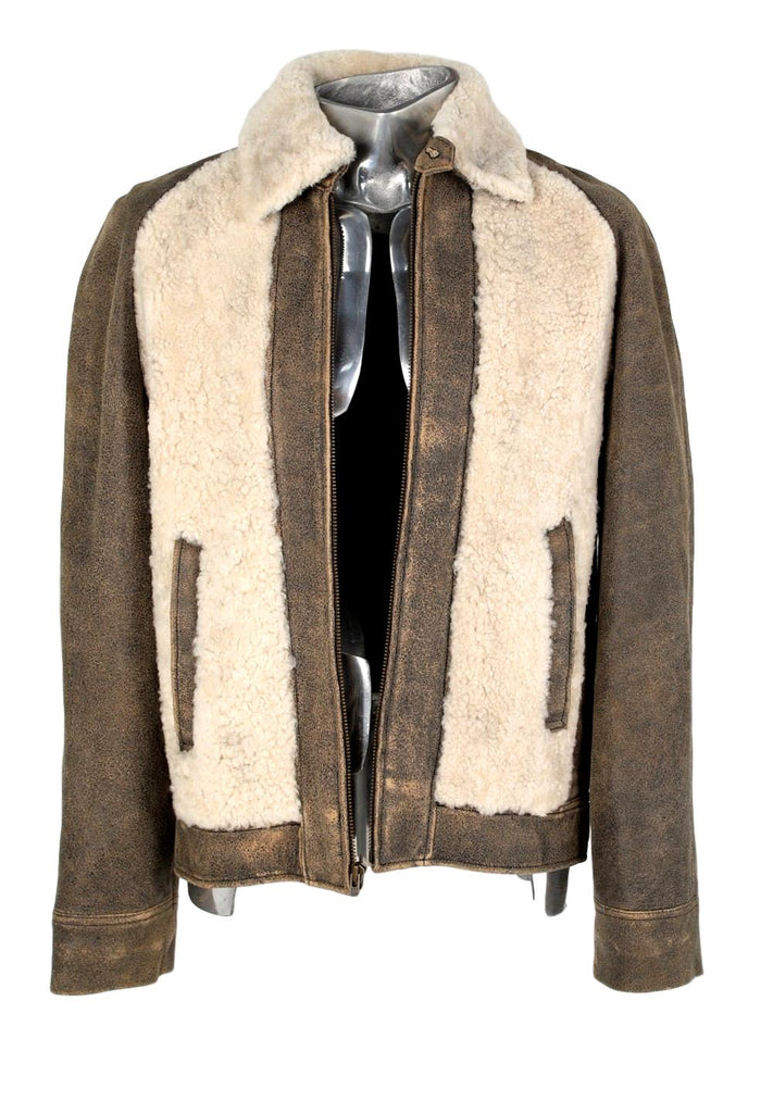 Men's Earl Jeans Shearling Panel Leather Jacket - atemporali