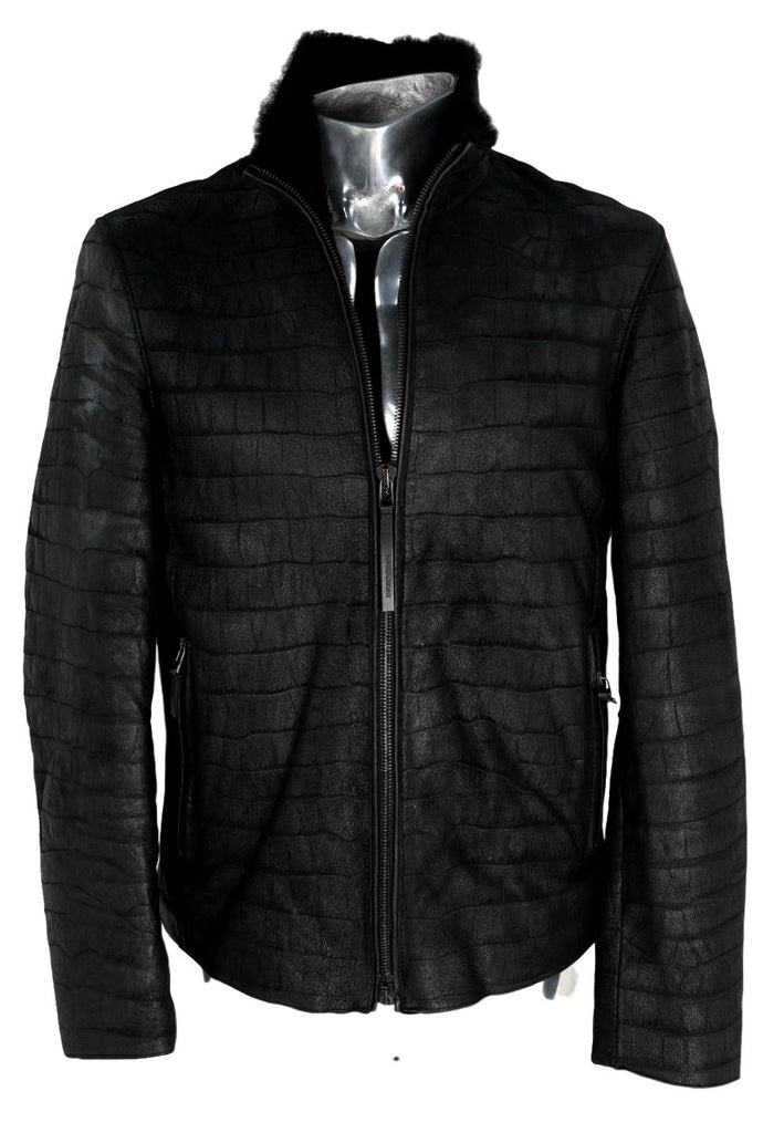 Men's Emporio Armani Crocodile Shearling Jacket - atemporali