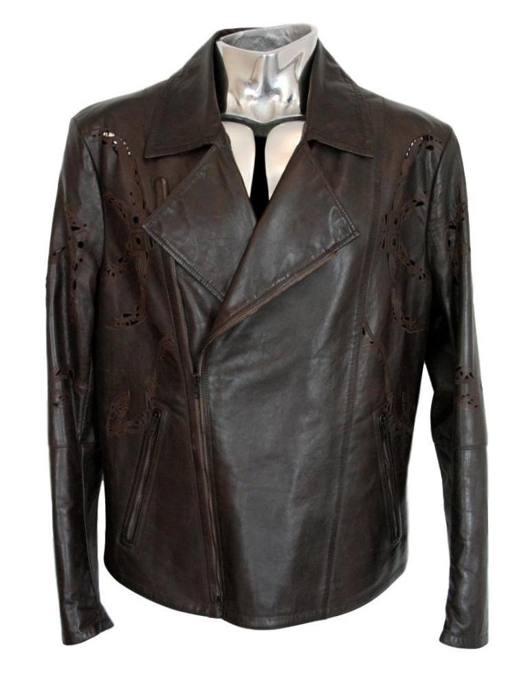 Men's Roberto Cavalli Laser-Cut Biker Leather Jacket - atemporali