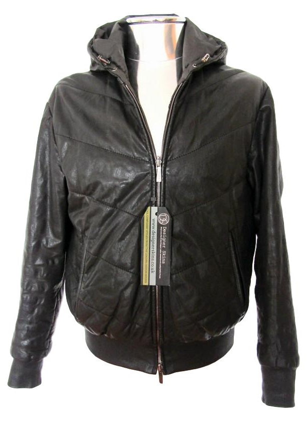 Men's Armani Collezioni Puffer Leather Hooded Jacket - atemporali