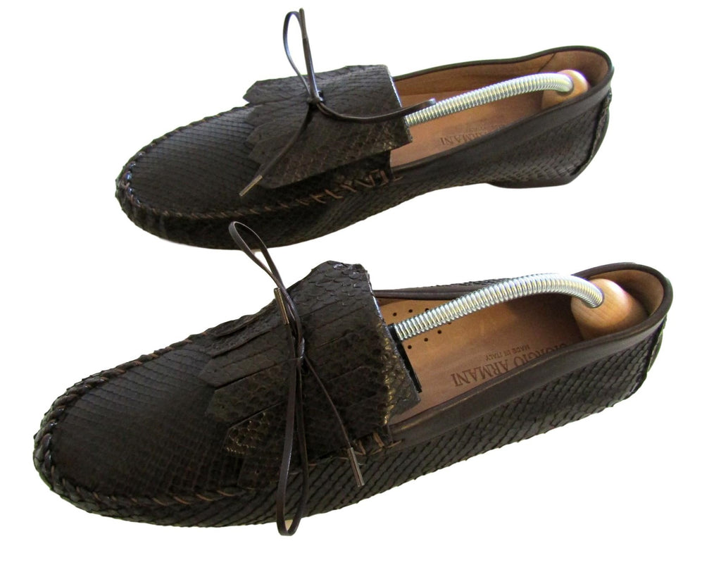 Men's Giorgio Armani Snakeskin Leather Moccasins - atemporali