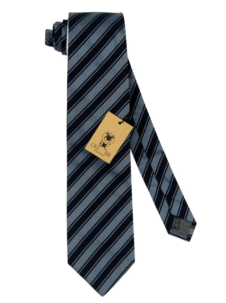 Men's Valentino Dark Blue Stripe Silk Tie - atemporali