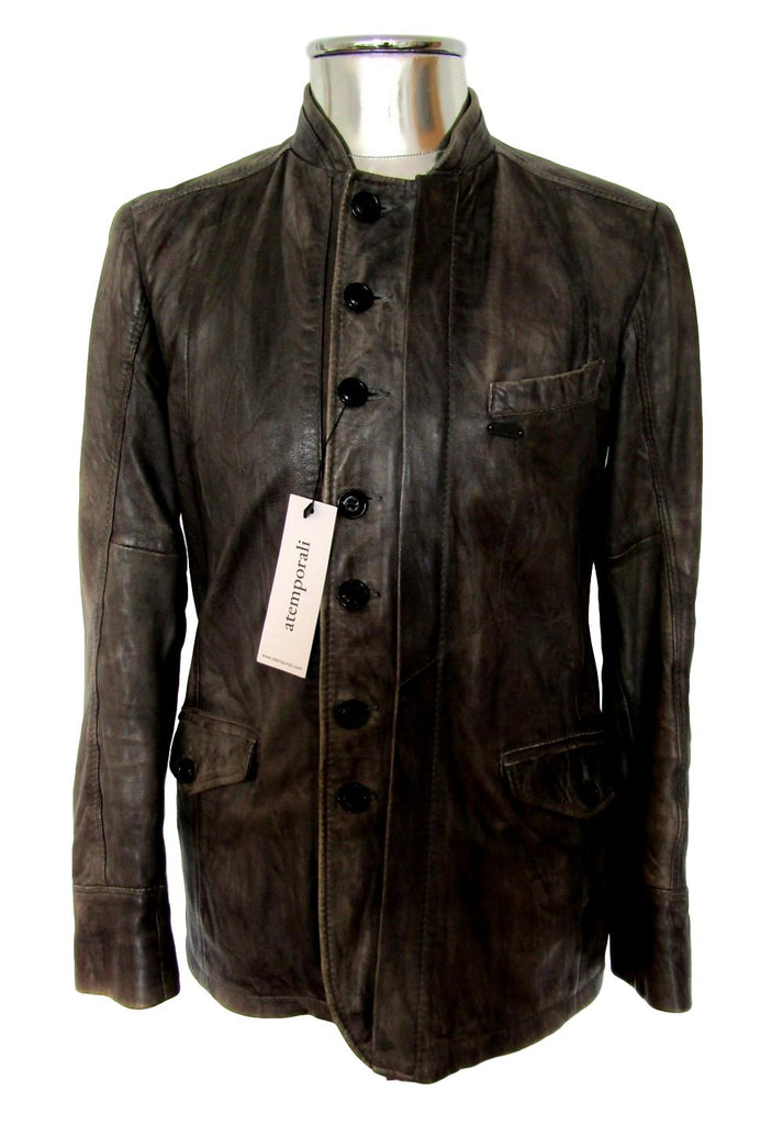 Men's Diesel Military Style Leather Jacket - atemporali