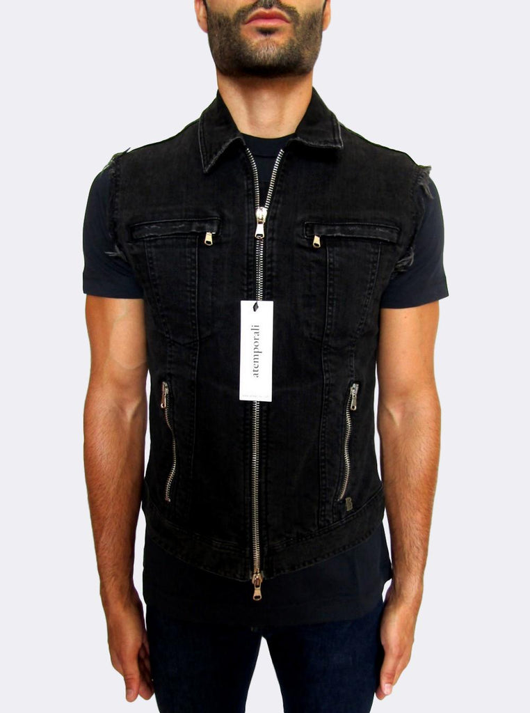Men's Pierre Balmain Distressed Black Denim Gilet - atemporali