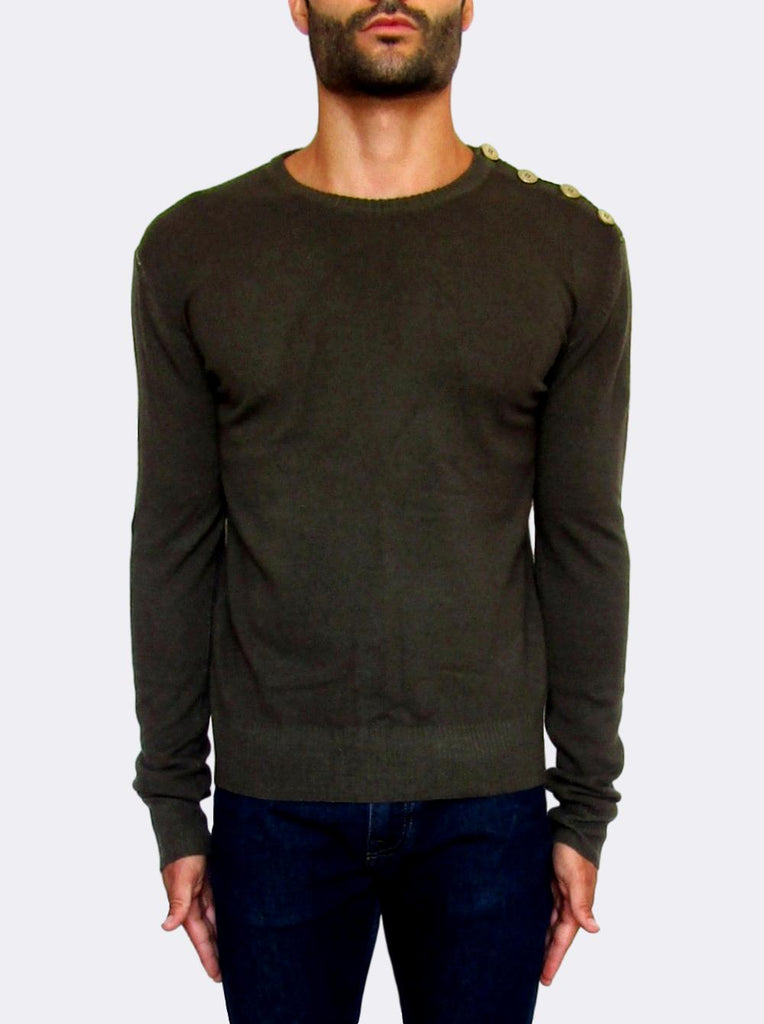 Men's Pierre Balmain Button-Shoulder Cashmere Sweater - atemporali