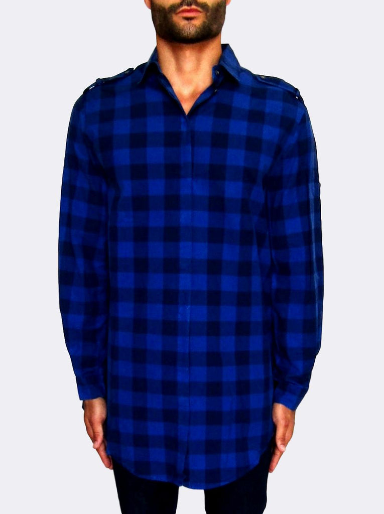 Men's Pierre Balmain Long Body Check Shirt - atemporali
