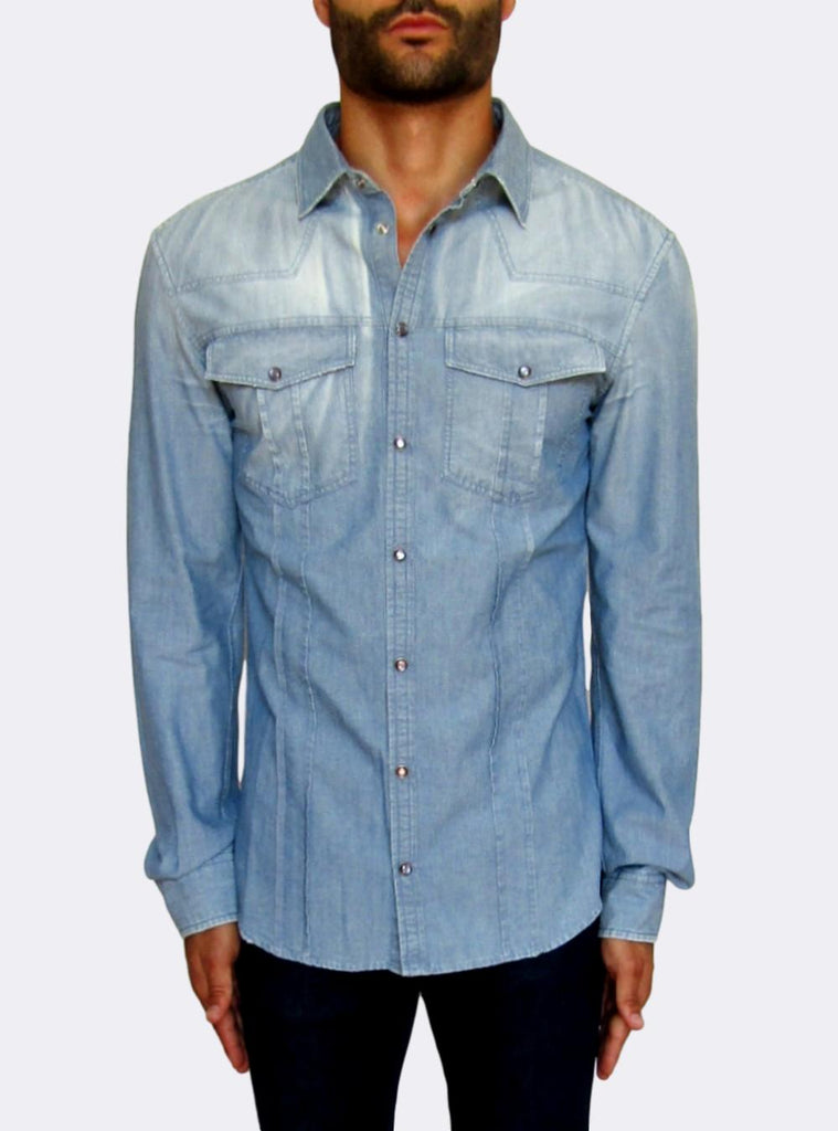 Blue Denim Popper Shirt
