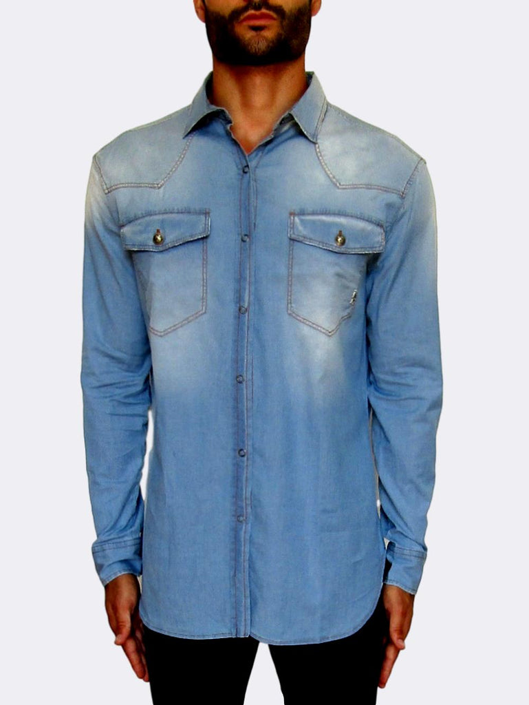 Denim Stitch Detail Shirt