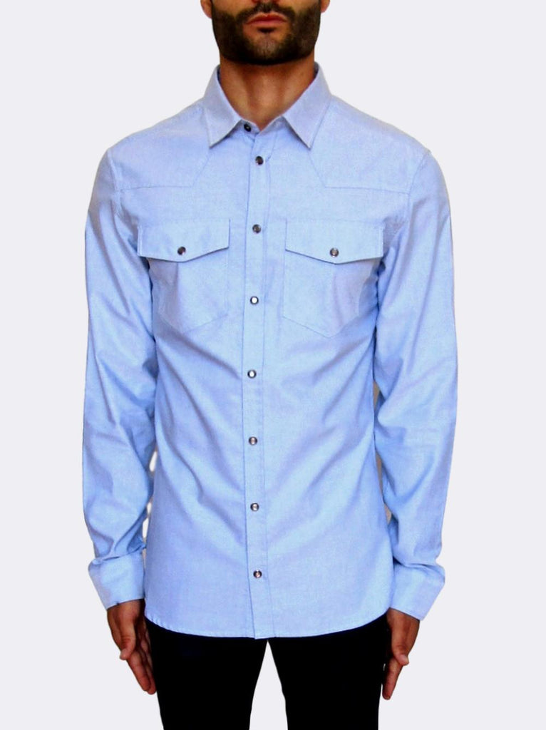 Light Blue Western Cotton Shirt