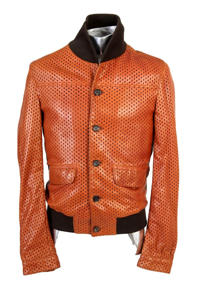 Men's Dolce & Gabbana Laser Cut Leather Jacket - atemporali