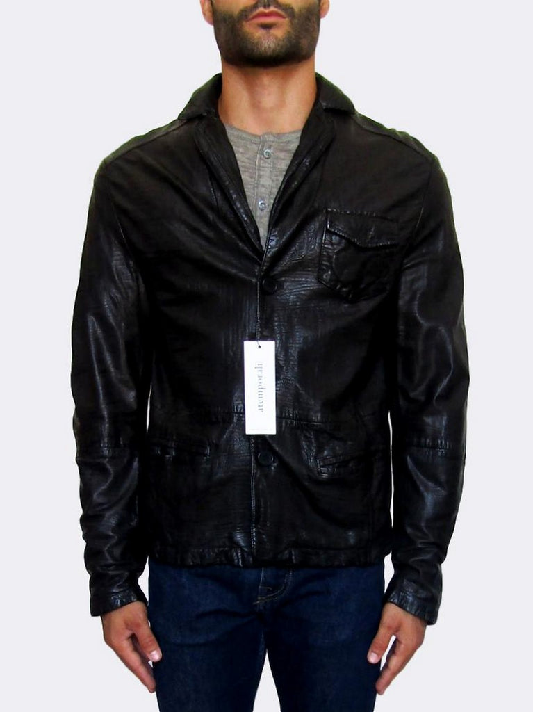 Button-front Leather Jacket