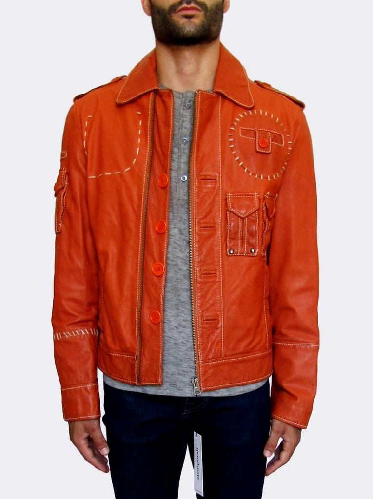 Men's Dirk Bikkembergs Multi-pocket Leather Jacket - atemporali