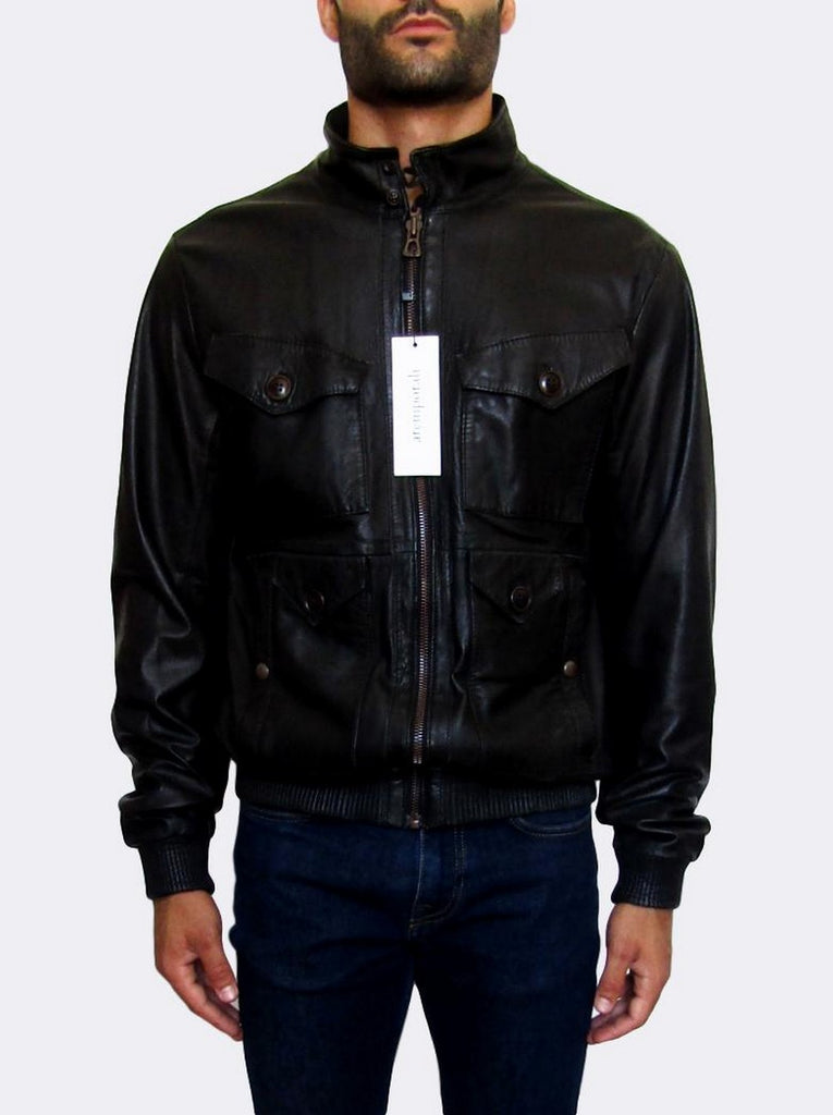 Men's Hugo Boss 'Javier' Bomber Leather Jacket - atemporali