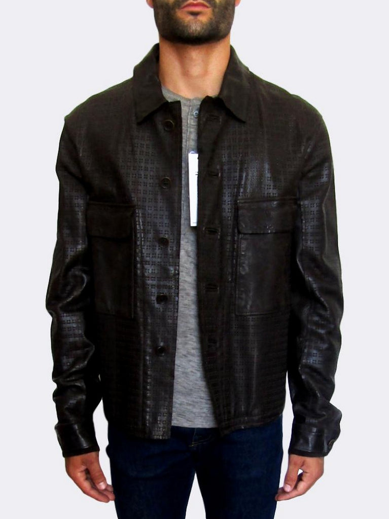 Men's Diesel Black Gold Laser-cut Leather Jacket - atemporali