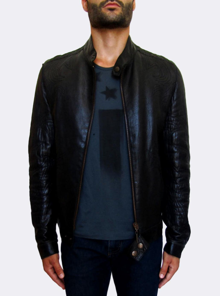 Black Stitch Leather Jacket