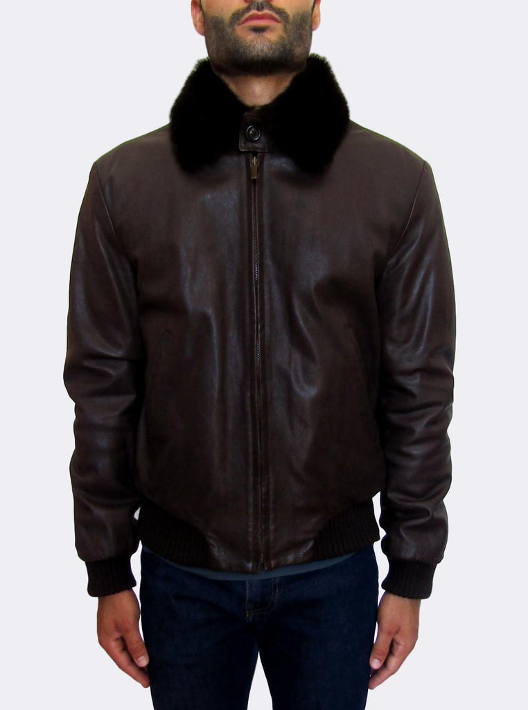 Racoon Fur Collar Leather Jacket
