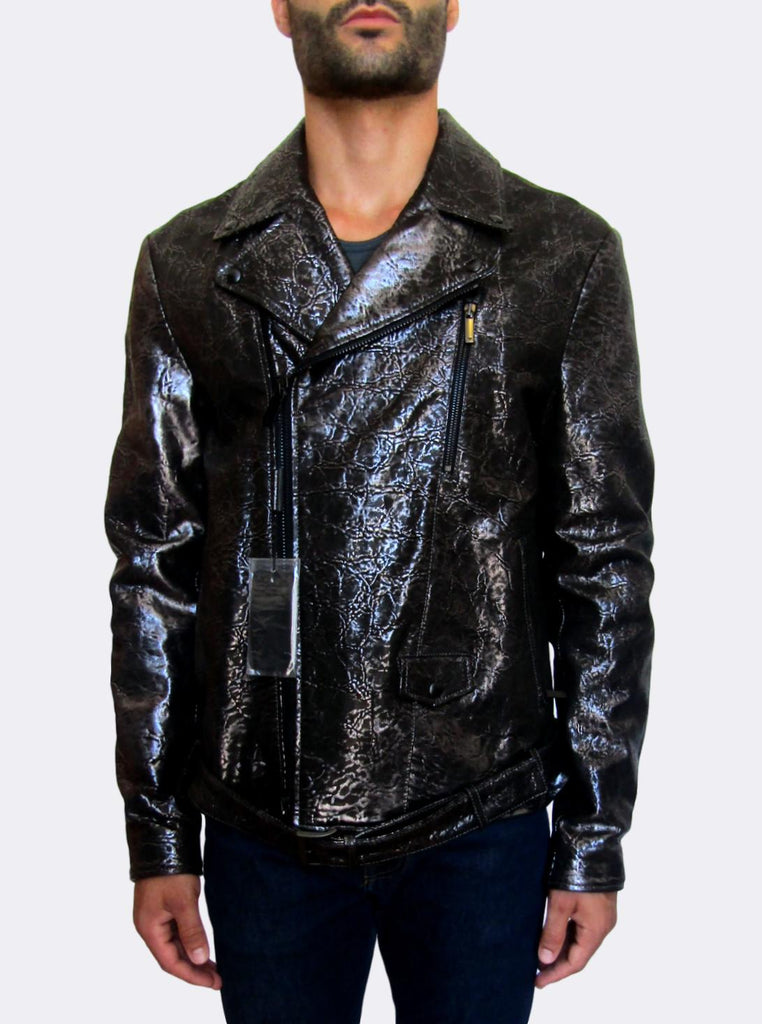 Metallic Leather Biker Jacket