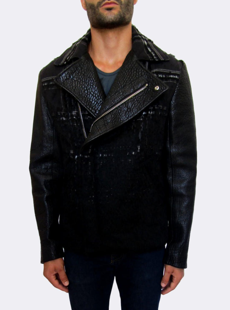 Men's Emporio Armani Leather & Wool Biker Jacket - atemporali
