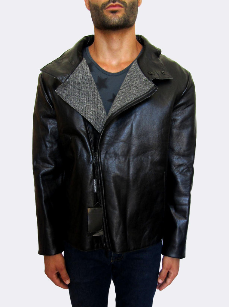 Men's Emporio Armani Biker Leather Jacket - atemporali