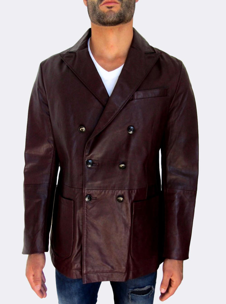 Men's Tommy Hilfiger Leather Pea Coat Jacket - atemporali