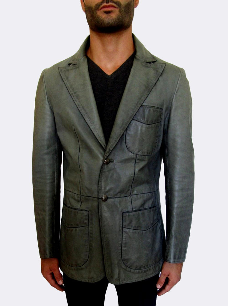 Blazer-cut distressed Leather Jacket