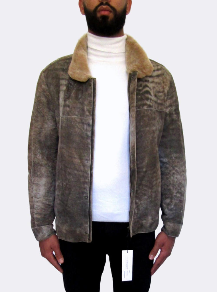 Buckled Collar Shearling Jacket