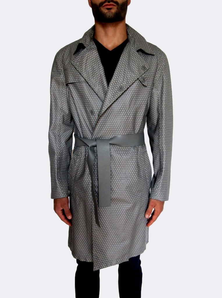 Honeycomb Leather Trench Coat