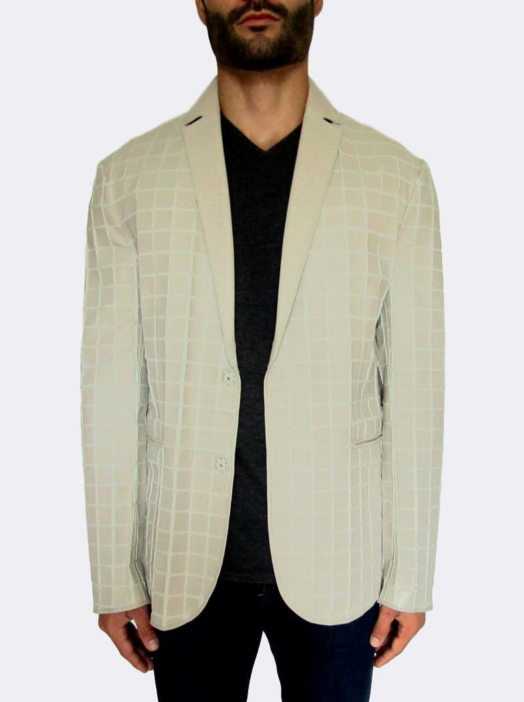 Leather Mosaic on Poplin Blazer