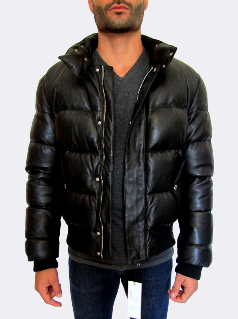 Leather Puffer Bomber Jacket