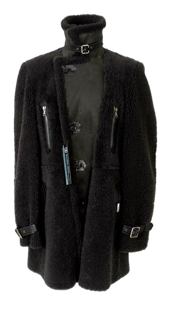 Men's John Richmond Reverse Shearling Leather Jacket Grey EU52 XL - atemporali