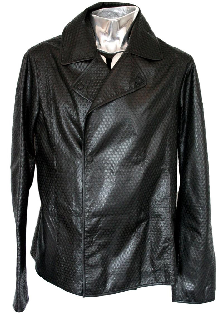 Men's Emporio Armani Honeycomb Texture Leather Jacket - atemporali