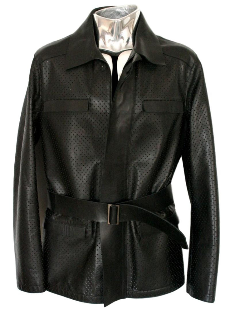 Men's Emporio Armani Perforated Belted Leather Jacket - atemporali