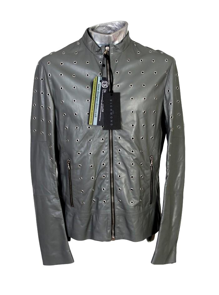 Men's John Richmond Leather Jacket Metal Rings - atemporali